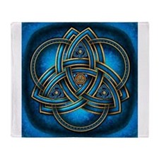 Blue Celtic Triquetra Throw Blanket