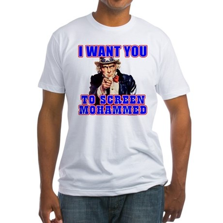 Screen Mohammed Not Grandma Fitted T-Shirt