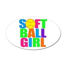 Girls softball 20x12 Oval Wall Decal