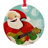 Santa Playing a Ukulele - Ornament
