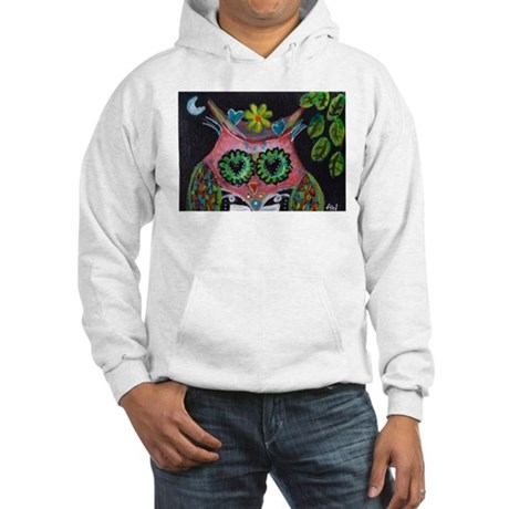 pink owl Hooded Sweatshirt