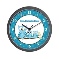 Blue Hoot Owls Teacher Wall Clock
