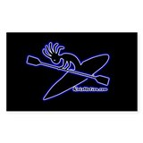 Kokopelli Kayaker Rectangle Bumper Stickers