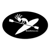Kokopelli Kayaker Oval Bumper Stickers