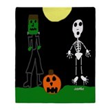 HI54AUTM Halloween Green Throw Blanket