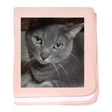 Gray Cat Russian Blue baby blanket
