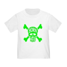 Green Born This Way Skull & Crossbones T