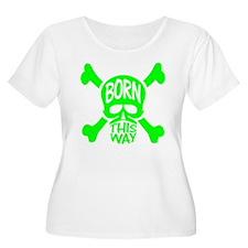 Green Born This Way Skull & Crossbones T-Shirt