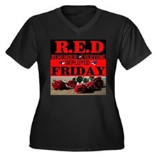 R.E.D Friday Women's Plus Size V-Neck Dark T-Shirt