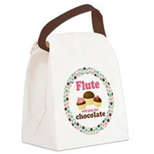 Flute Will Play For Chocolate Canvas Lunch Bag