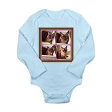 Champagne Burmese Box Cat x4 Long Sleeve Infant Bo