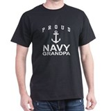 Proud Navy Grandpa Black T-Shirt