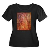 Fiery Peacock Women's Plus Size Scoop Neck Dark T-
