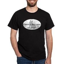 French Bulldog GRANDMA Black T-Shirt