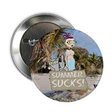 "Summer Sucks Foamy 7 Germaine 2.25"" Button"