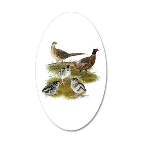 Pheasant Family 35x21 Oval Wall Decal