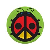 "Ladybug Peace Sign 3.5"" Button"