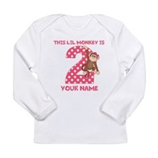 2nd Birthday Monkey Girl Long Sleeve Infant T-Shir