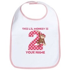 2nd Birthday Monkey Girl Bib