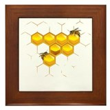 Bees and honeycomb Framed Tile