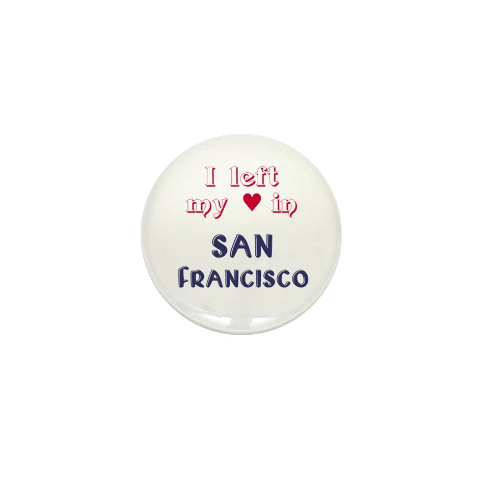 Heart San Francisco Buttons  San Francisco Mini Button (100 pack
