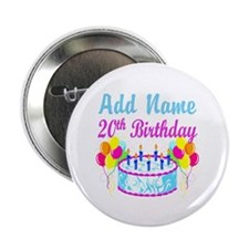 """HAPPY 20TH BIRTHDAY 2.25"""" Button (10 pack)"""