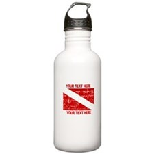 YOUR TEXT FADED DIVE FLAG Water Bottle