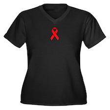 Red Ribbon Women's Plus Size V-Neck Dark T-Shirt
