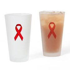 Red Ribbon Drinking Glass