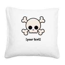 [Your text] Cute Skull Square Canvas Pillow