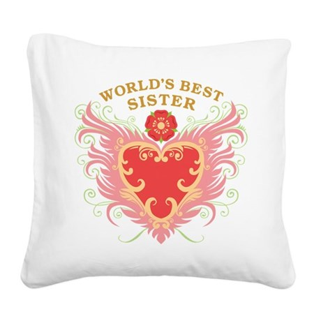 worlds_best_w_sister.png Square Canvas Pillow