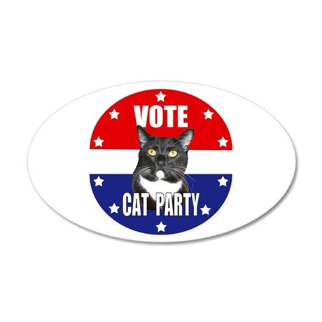 Vote: Cat Party! 20x12 Oval Wall Decal