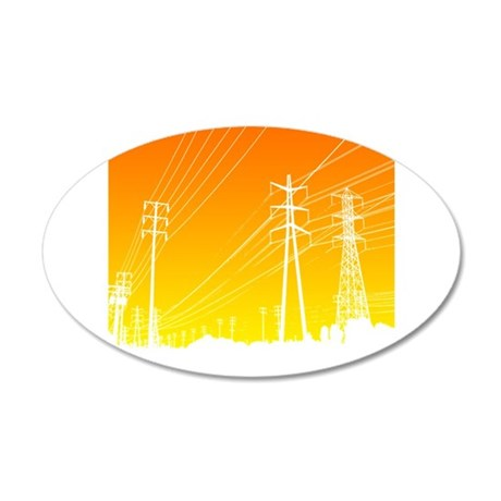Power lines 20x12 Oval Wall Decal