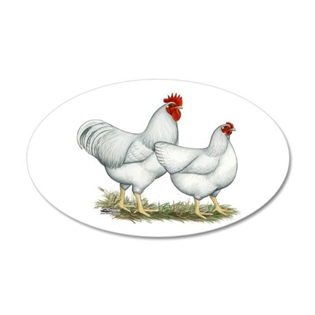 White Rock Chickens 20x12 Oval Wall Decal