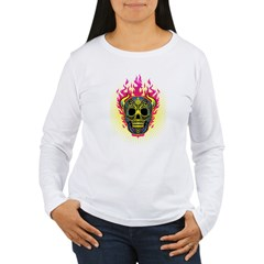 skull Dull Flames Women's Long Sleeve T-Shirt