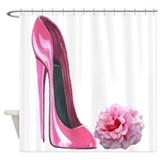 Pink Rose and High Heel Stiletto Shower Curtain
