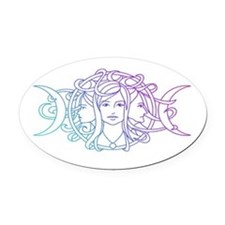 Triple Goddess Oval Car Magnet