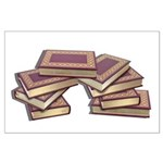 Stacked Books Gold leaf Large Poster