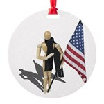 American Flag and Scarf Round Ornament