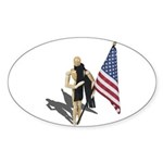 American Flag and Scarf Sticker (Oval 10 pk)