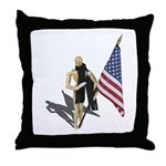 American Flag and Scarf Throw Pillow