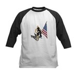 American Flag and Scarf Kids Baseball Jersey