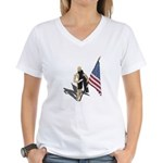 American Flag and Scarf Women's V-Neck T-Shirt