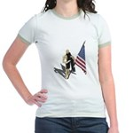 American Flag and Scarf Jr. Ringer T-Shirt