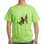 American Flag and Scarf Green T-Shirt