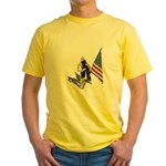 American Flag and Scarf Yellow T-Shirt