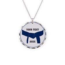 Custom Martial Arts Blue Belt Necklace Charm