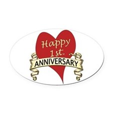Cute 1st wedding anniversary Oval Car Magnet