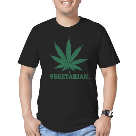 Vegetarian Cannabis Men's Fitted T-Shirt (dark)