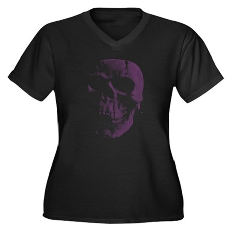 Purple Skull Plus Size V-Neck Shirt